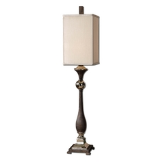 Table Lamp with Beige / Cream Shade in Polished Nickel Finish
