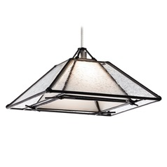 Seeded Glass Mini-Pendant Light Satin Nickel with Square Shade by Tech Lighting
