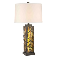 Creek Tiffany Bronze Table Lamp with Bright White Linen Drum Shade