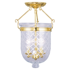 Livex Lighting Jefferson Polished Brass Semi-Flushmount Light