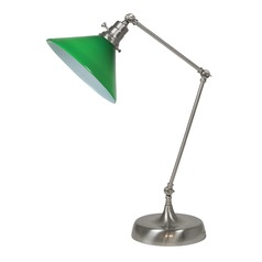 House Of Troy Otis Satin Nickel Table Lamp with Conical Shade