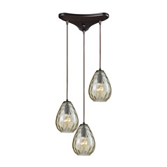 Lagoon Oil Rubbed Bronze Multi-Light Pendant with Oval Shade