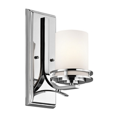 Kichler Modern Sconce Wall Light with White Glass in Chrome Finish