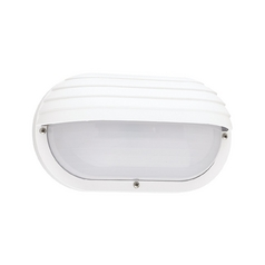 Energy Star Rated White Oval Bulkhead Wall Light