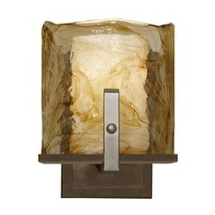 Modern Sconce Wall Light with Art Glass in Roman Bronze Finish