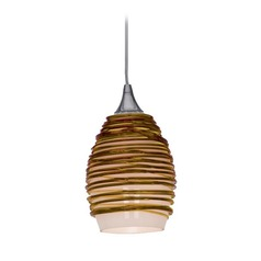 Adele Amber Glass Mini-Pendant with LED Bulb