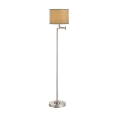 Swing Arm Floor Lamp with Tan and Turquoise Drum Lamp Shade