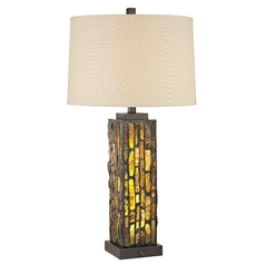 Creek Tiffany Bronze Table Lamp with Natural Linen Drum Shade