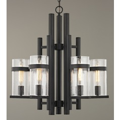 Seeded Glass Industrial Chandelier Bronze 6-Light