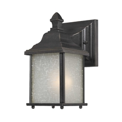 Small Outdoor Wall Light with White Linen Glass - 9-Inches Tall