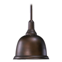 Quorum Lighting Oiled Bronze Mini-Pendant Light with Bowl / Dome Shade