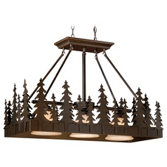 Yosemite Burnished Bronze Island Light with Bell Shade by Vaxcel Lighting