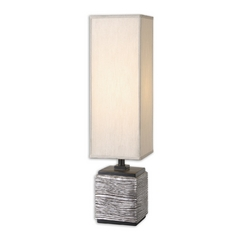 Table Lamp with Beige / Cream Shade in Silver / Matte Black Finish