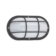 Energy Star Rated Oval Bulkhead Light Fixture with Ribbed Diffuser