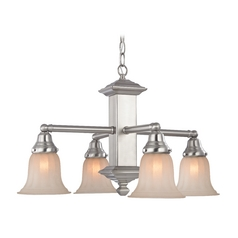 Design Classics Lighting Nickel Craftsman Chandelier with Caramel Shades 375-09 / G9440