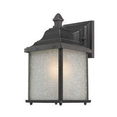 Outdoor Wall Light with White Linen Glass - 10-1/2 Inches Tall
