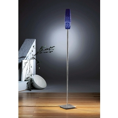 Holtkoetter Modern Torchiere Lamp with Blue Glass in Satin Nickel Finish