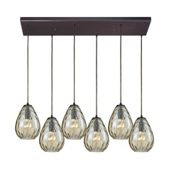 Lagoon Satin Nickel Multi-Light Pendant with 6 Oblong Lights