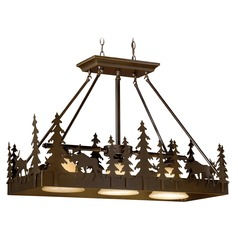 Yellowstone Burnished Bronze Island Light with Bell Shade by Vaxcel Lighting