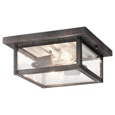Arts and Crafts / Craftsman Close to Ceiling Light Weathered Zinc Wayland by Kichler Lighting