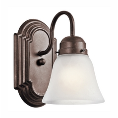 Kichler Sconce Wall Light with White Glass in Tannery Bronze Finish