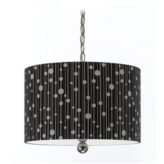 Modern Drum Swag Lamp with Black Shade in Nickel Finish