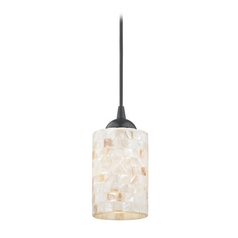 Mosaic Mini-Pendant Light with Cylinder Glass in Black Finish