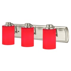 Red Glass Bathroom Light in Satin Nickel with 3-Lights