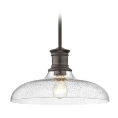 Industrial Farmhouse Bronze Seeded Glass Pendant Light 14-Inch Wide