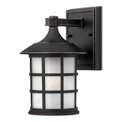 LED Outdoor Wall Light with White Glass in Olde Penny Finish