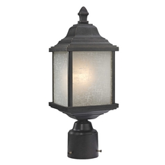 Outdoor Post Light with White Linen Glass