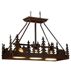Bozeman Burnished Bronze Island Light with Bell Shade by Vaxcel Lighting