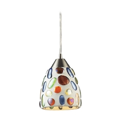 Modern Mini-Pendant Light with Multi-Color Glass