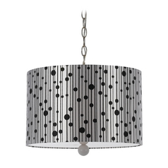 Modern Plug In Pendant Light with Drum Shade