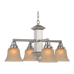 Design Classics Lighting Arts & Crafts Craftsman Chandelier with Amber Glass Shades 375-09 / G9999