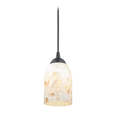 Mosaic Mini-Pendant with Dome Shade in Black Finish
