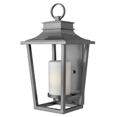 Outdoor Wall Light with White Glass in Hematite Finish