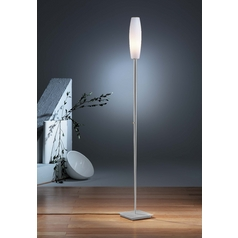 Holtkoetter Modern Torchiere Lamp with White Glass in Satin Nickel Finish