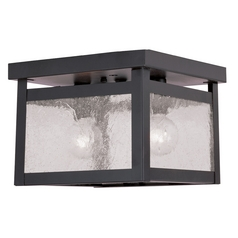 Seeded Glass Flushmount Light Bronze Livex Lighting