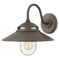 Barn Light Seeded Glass Outdoor Wall Light Oil Rubbed Bronze Hinkley Lighting