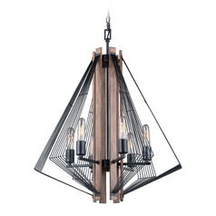 Art Deco Chandelier Black with Burnished Wood Dearborn by Vaxcel Lighting