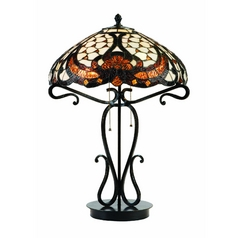 Table Lamp with Art Glass in Dark Bronze Finish