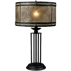 Bronze Table Lamp with Brown Mica Drum Shade