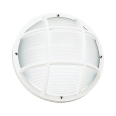 Energy Star Rated Round White Bulkhead Light with Ribbed Diffuser