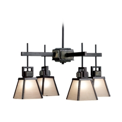 Chandelier with Brown Glass in Oil Rubbed Bronze Finish
