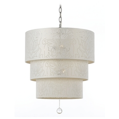 Tiered Pendant Light with Drum Shades and Crystal Drop Accent Piece