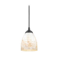 Mosaic Mini-Pendant Light with Bell Glass Shade in Black Finish