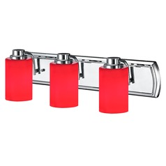 Red Glass Bathroom Light in Chrome with 3-Lights