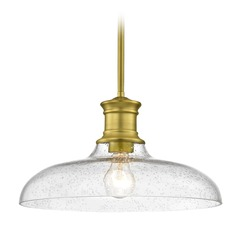 Industrial Farmhouse Brass Seeded Glass Pendant Light 14-Inch Wide