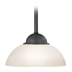 Bronze Mini-Pendant Light with White Dome Glass